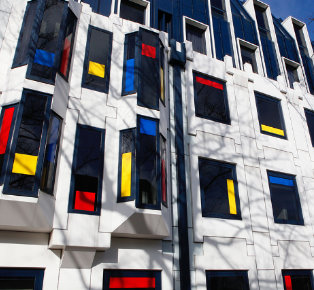 who afraid of red yellow and blue street architecture