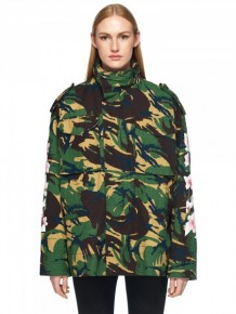 Off White Camouflage Floral Print Parka Jacket