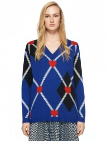 MSGM Navy heart knitted jumper