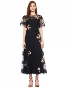 RED Valentino Black Floral Maxi Dress