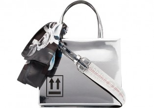 Off White silver mirror box mini patent leather shoulder bag