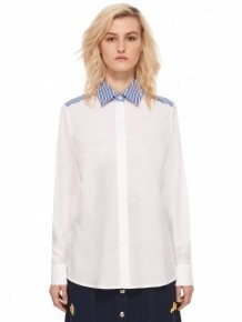 ETRE CECILE blue collar white shirt