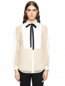 RED Valentino White Blouse with black ribbon