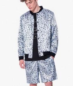 Aqua black dotted satin bomber jacket with shorts