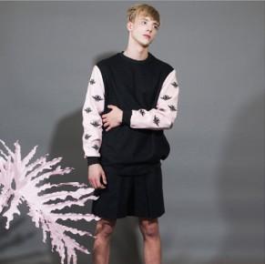 Graphical Pink Sleeves Sweatshirt