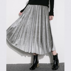 Velvet Pleated Midi Skirt 3 colors