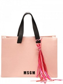 MSGM Pink Tote Bag with logo