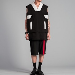 Oversized vest top with judo neckline