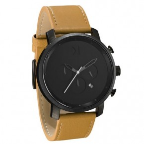 Chrono black tan leather watch