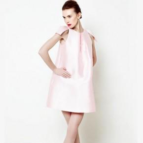 Pink Shoulder Pleats Dress