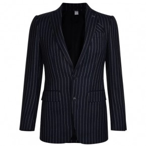 BURBERRY ENGLISH FIT PINSTRIPED WOOL TAILORED JACKET