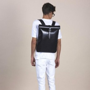 Black leather backpack anthracite