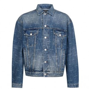 BALENCIAGA ALL OVER PRINT DENIM JACKET