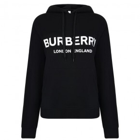 BURBERRY BLACK LOGO HOODED SWEATSHIRT