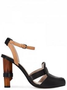 Jil Sander Navy Black Leather High Heels