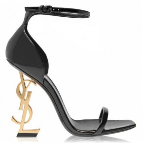SAINT LAURENT Black and Gold  Opyum Heeled Sandals