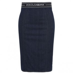 DOLCE AND GABBANA DENIM LOGO TAPE SKIRT