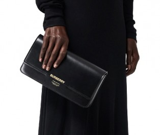 BURBERRY Leather Grace Clutch in Black