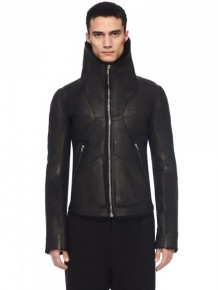 Rick Owens High Neck Leather Jacket