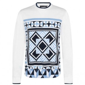 DOLCE AND GABBANA PRINT SWEATER White Sky Blue