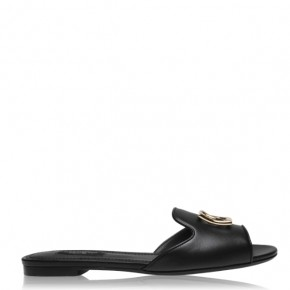 DOLCE AND GABBANA LEATHER MILLEN LOGO SLIDERS