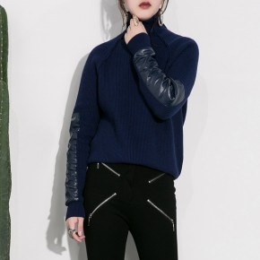 High neck knitwear top with leather sleeves