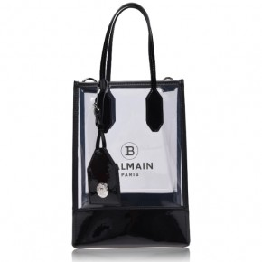 BALMAIN Black PVC SHOPPING BAG