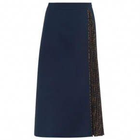 FENDI FF Navy Midi Skirt