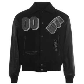 OFF WHITE VARSITY LEATHER JACKET