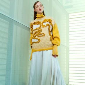 Yellow stripe knitwear dress