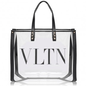 VALENTINO SMALL VLTN PRINT TRANSPARENT TOTE BAG