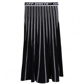 OFF WHITE LOGO KNIT PLEATED SKIRT