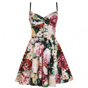 DOLCE AND GABBANA FLOWER PRINT COTTON DRESS