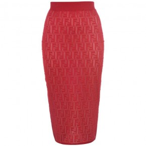 FENDI red mesh pencil skirt