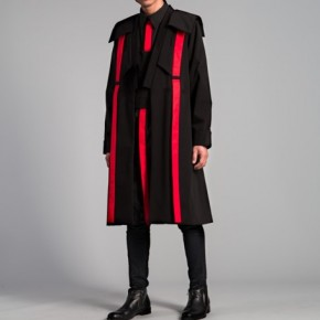 Black coat with red lines pattern