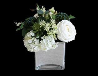 Artificial Flowers White Rose Bouquet Home Decor Set