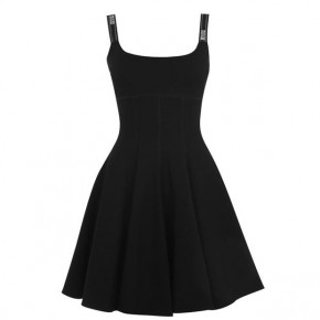 VERSACE JEANS COUTURE BLACK TAPING SKATER DRESS