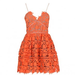 SELF PORTRAIT AZALEA MINI DRESS IN ORANGE
