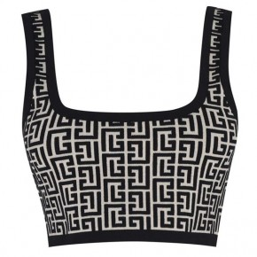 BALMAIN CROPPED JACQUARD SPORTS BRA TOP