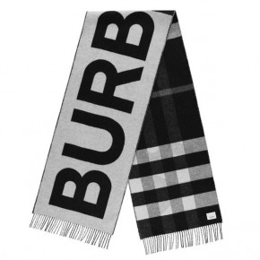 BURBERRY REVERSIBLE CHECK LOGO CASHMERE SCARF