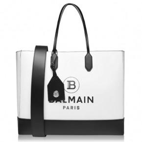 BALMAIN Logo Black and White Shoulder Bag