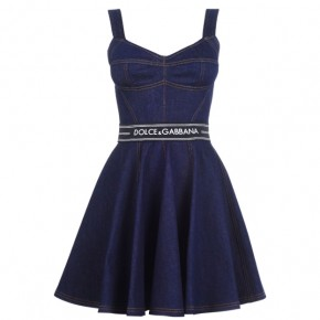 DOLCE AND GABBANA LOGO TAPE DENIM DRESS