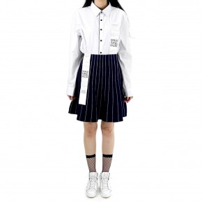 Y3NOLOGY Striped Skirt in Navy
