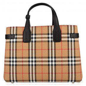 BURBERRY MEDIUM BANNER LEATHER AND VINTAGE CHECK BAG