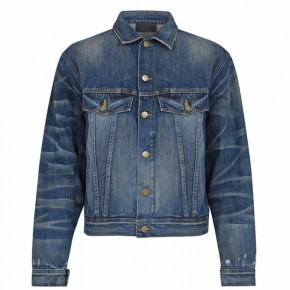 FEAR OF GOD ESSENTIALS Denim Trucker Jacket Distressed Indigo