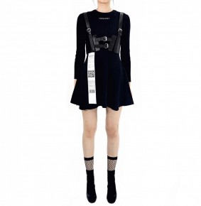 Y3NOLOGY Black Knitted Dress with Leather Waist Belt