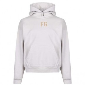 FEAR OF GOD FLEECE LOGO HOODIE White