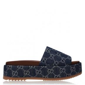 Gucci Womens Denim platform slide sandal