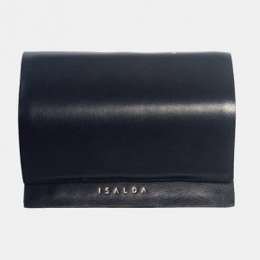 JUN black leather wallet with coins bag