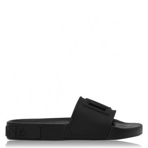 DOLCE AND GABBANA BLACK RUBBER BEACHWEAR SLIDERS